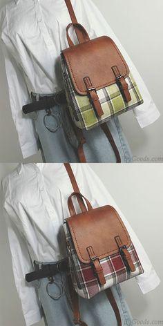 Retro Multi-function Woolen Girl's Grid Bag Contrast Color Lattice Backpack for big sale! #backpack #Bag #retro #grid #lattice