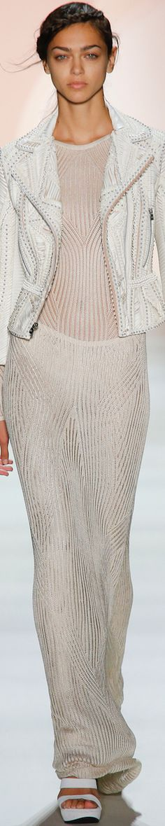 Love the grey stiching on the white.... Hervé Léger by Max Azria Spring 2016 RTW