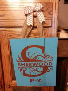 """Recycled wood pallet sign: This very large 18"""" w x 21"""" h monogrammed wooden door sign looks great as it greets your guests. We are selling them for $40 each and you get to tells us the colors that you would like. Message us if you are interested. Item # 231"""
