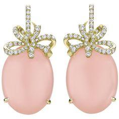 Jewerly Opal Earrings Diamonds 63 Ideas For 2019 Pink Diamond Earrings, Diamond Bows, Diamond Flower, Crystal Earrings, Bow Jewelry, Opal Jewelry, Flower Jewelry, Flower Earrings, Diamond Jewellery