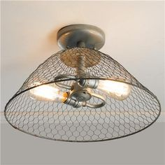 LAUNDRY ROOM - Rustic Chicken Wire Dome Ceiling Light