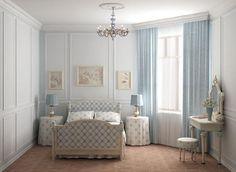 Feminine, vintage, soft blue & white bedroom