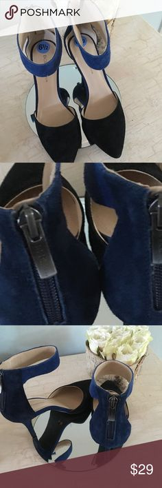 BCBG D'orsay black and blue heels Size 6.5 Black & blue suede angle strap with a back zipper and approximately 3 inch heel BCBGeneration Shoes Heels