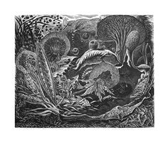 Natural Morte, wood engraving, 2012, by George Tute
