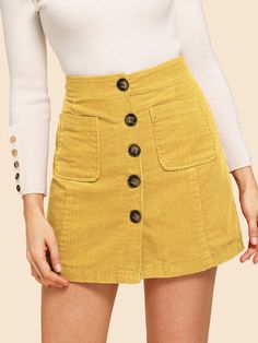 To find out about the Button Front Corduroy Skirt at SHEIN, part of our latest Skirts ready to shop online today! Mode Outfits, Girly Outfits, Skirt Outfits, Dress Skirt, Fall Outfits, Casual Outfits, Fashion Outfits, Women's Casual, Womens Fashion