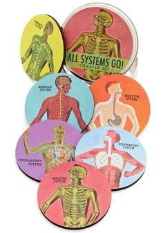 Pour Anatomy a Drink Coaster Set. Whether you spend your days in a lab or youre simply a lover of all-things scientific, youll appreciate these coasters! #multi #modcloth