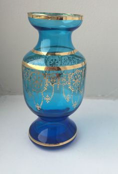 Murano Teal Blue Venetian Bohemian blown Glass Vase hand painted 24ct gold gilt #Murano