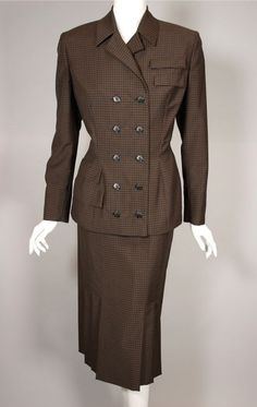 SOLD 1950s Irene suit size 36 bust 28 waist black brown check from Viva Vintage Clothing