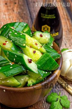 This cucumber salad is bright and refreshing with a hint of nuttiness from sesame! Cooling and perfect for a summer BBQ Salad Recipes Healthy Lunch, Cucumber Recipes, Salad Recipes For Dinner, Chicken Salad Recipes, Vegetarian Recipes, Cooking Recipes, Juice Recipes, Summer Salads, Summer Bbq