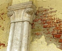 A photo I took in Venice along the canal. I love the the pilaster against the peeling plaster and exposed brick. Plaster Walls, Brick Walls, Lighting Truss, Buddhist Teachings, Ludwig Mies Van Der Rohe, Acanthus, Exposed Brick, Wabi Sabi, Box Art