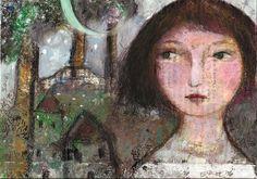 painted on book page Efi Kokkinaki