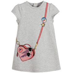 Little Marc Jacobs Girls Grey Cotton Handbag Dress at Childrensalon.com