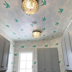 Daydream (Green) wallpaper featuring flying birds and floating clouds was designed by Julia Rothman for Hygge & West. Coastal Wallpaper, Botanical Wallpaper, Bird Wallpaper, Green Wallpaper, Modern Wallpaper, Home Wallpaper, Hallway Wallpaper, Bathroom Wallpaper, Wallpaper Ceiling Ideas