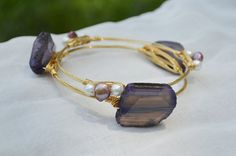 Wire Wrapped Purple Agate Slab and Pearls Bangle Bauble Bracelet Set