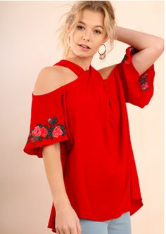 Wrap Front Halter Neck Top with Floral Embroidered Flutter Sleeves and a Back Keyhole $28