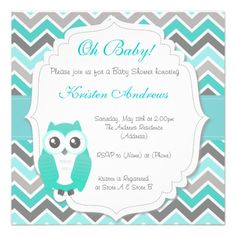 Owl Baby Shower Invitation Green Chevron