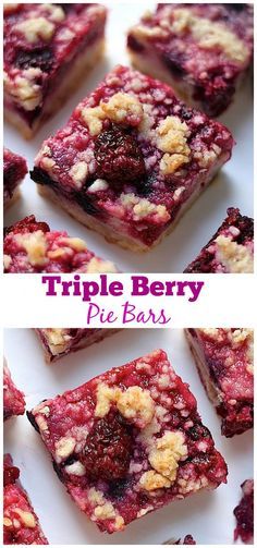 Triple Berry Pie Bars - Calling all berry LOVERS! These are insanely easy to make and SO delicious! Like Summer in a bar!