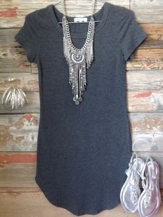 Fun in the Sun Tunic Dress: Charcoal