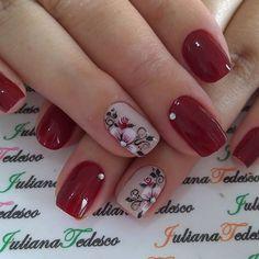 Maroon Nail Designs, Fall Nail Art Designs, Acrylic Nail Designs, Rose Nails, Flower Nails, French Manicure Nails, Gel Nails, Manicure Pedicure, Spring Nail Art
