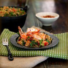 shrimp, bulgur, and kale salad