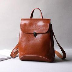 """Women Leather Rucksack, Retro Shoulder Bag, Travel Backpack 9211 Model Number: 9211 Dimensions: 11.4""""L x..."""