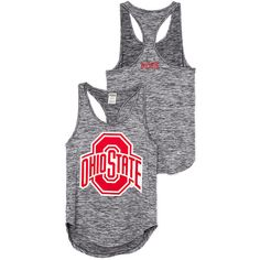 PINK The Ohio State University Ultimate Racerback Tank ($15) ❤ liked on Polyvore featuring tops, print tank top, print tank, racer back tank top, graphic racerback tank tops and racerback tank