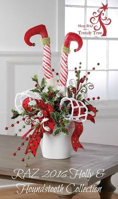 """RAZ Peppermint Stripe Elf Legs Set of 2  Pair Red, White Made of Polyester/Wood Measures 17"""" with 8"""" Stake   RAZ Exclusive  RAZ 2016 Holly & Houndstooth Collection:"""