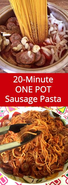 Easy 20-Minute One Pot Sausage Recipe - ready in 20 minutes from start to finish, and only one pot to clean - genius! @KlementSausage #LinkUp #Sponsored #NationalSnackStickDay
