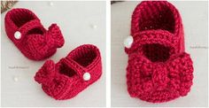 Make these adorable Ruby Red Crocheted Mary Jane Booties for your little lady. The super cute footwear with charming bow detail will definitely go well . Crochet Baby Sweater Pattern, Baby Sweater Patterns, Baby Patterns, Crochet Patterns, Crochet Ideas, Crochet Bows, Crochet Slippers, Crochet For Kids, Free Crochet