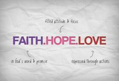 Three things will last forever faith, hope, and love and the greatest of these is LOVE.   ~1 Corinthians 13:13