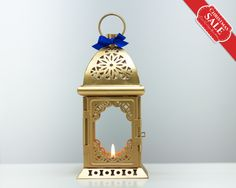 Gold Moroccan Lantern/ Unique Vintage Candle Holder/ Golden Wedding Lanterns/ Moroccan decor/ Metal Candle Holder