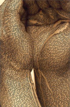 """""""composed of tiny Hebrew letters and it takes thousands of them to cover the skin"""" Calligraphic Art by Ronit Bigal"""