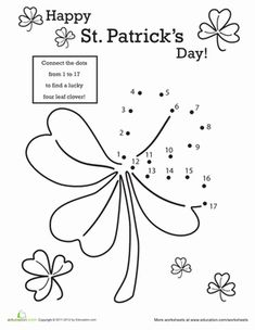 St. Patrick's Day Kindergarten Dot-to-Dots Counting & Numbers Worksheets: St. Patrick's Day Dot-to-Dot