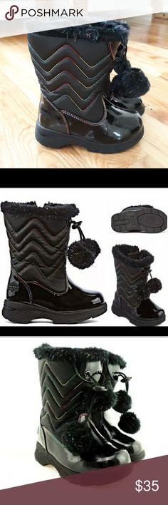 10 11 NIB-Boys Little Kids Totes Black Waterproof Leather Winter Snow Boots-9