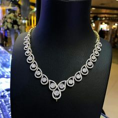 Brilliant Round Cut Diamond Tennis Bracelet Solid White Gold Over Jewelry Design Earrings, Necklace Designs, Jewellery Designs, Statement Jewelry, Diamond Tennis Necklace, Diamond Jewelry, Filigree Jewelry, Small Necklace, Necklaces