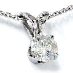 WHAT AN IDEA! Buy NOW your holiday gifts and make this Christmas easy! OMG!  A .55CT Solitaire Round Diamond White Gold New Pendant DISCOUNT from 1,250.70 to $399.00 (You save 851 Dollars) FABULOUS PRICE! This is the best Gift you could give to her!!