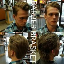 In January 2015, Alyssa Brasket of The Barbers in Vancouver, Washington, became the first woman to capture the American Crew U.S. All-Star Challenge, an annual styling and photographic competition. Brasket reinvents the pompadour style for her client and provides detailed steps to achieve the look: STEP ONE: Wet hair all over before cutting hair. Use just enough American Crew Firm Hold Gel to create hold. Comb hair away from the face to the back of the neck.