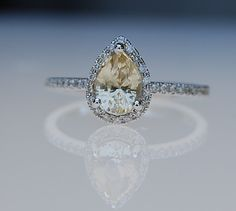 1ct Champagne yellow pear sapphire diamond ring 14k white gold