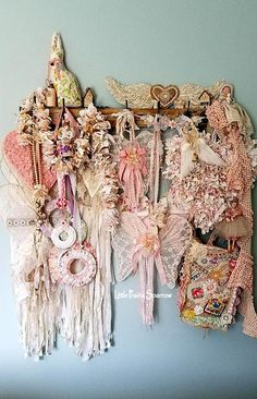 Pink shabby chic, hearts, wings, dream catchers, doilies, dolls, and birds