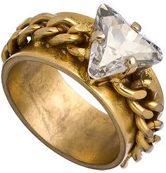 Max & chloe Crystal+Gold Chain Ring|shopstyle.com