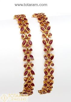 Gold Ruby Bangles – Set of 2 Pair) 22 Karat Gold Ruby Bangles – Set of Pair). Gold Bangles For Women, Gold Bangles Design, Gold Jewellery Design, Diamond Jewellery, Indian Gold Bangles, Diamond Bangle, Ruby Bangles, Silver Bracelets, Bangle Bracelets