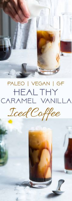 Healthy Recipes : Illustration Description Paleo Homemade Caramel Vanilla Iced Coffee – Tastes WAY better than the coffee shop, is under 200 calories and is SO easy to make! Paleo and vegan friendly and gluten/grain/dairy/refined sugar free too! Sugar Free Iced Coffee, Healthy Iced Coffee, Homemade Iced Coffee, Vanilla Iced Coffee, Coffee Coffee, Iced Latte, Iced Coffee Recipes, Caramel Iced Coffee Recipe, Coffee Beans
