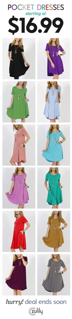 Sign up to shop pocket dresses starting at $16.99. Easy to dress up or keep casual, these pocket dresses are the closet essential your warm-weather wardrobe has been missing. Deal ends soon!