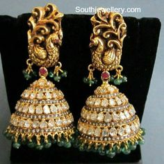 Peacock Polki Diamond Jhumkas
