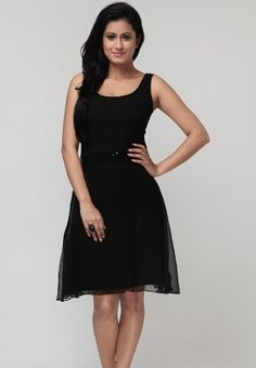 Sleeve Less Sequinned Black Dress Price: Rs.2899
