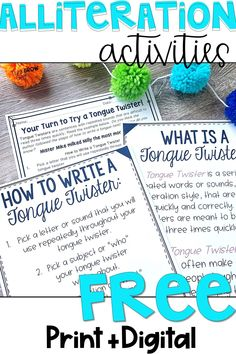 These FREE alliteration activities are the perfect way to add humor and fun back into your students' literacy lessons! This freebie comes in both digital and printable versions and is a great way to get students leaning about alliteration, practicing writing skills, and so much more! Click the pin to grab your free copy. Writing Lesson Plans, Writing Lessons, Teaching Writing, Writing Practice, Writing Ideas, Writing Activities, Writing Skills, Teacher Notes, Teacher Tips