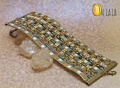 Leather Cuff Bracelet with Crystals and Beads on Beige Leather One- Of-A-Kind Unique