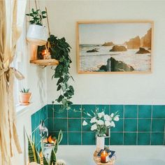Before and After: An Ingenious Fix for Ugly Rental Bathroom Tiles. This rental bathroom needed a little help, but nothing that would cost a ton of money or cost the residents their security deposit. Boho Bathroom, Bathroom Styling, Bathroom Inspo, Bathroom Colors, Bathroom Plants, Bathroom Green, Modern Bathroom, Master Bathroom, Small Rental Bathroom