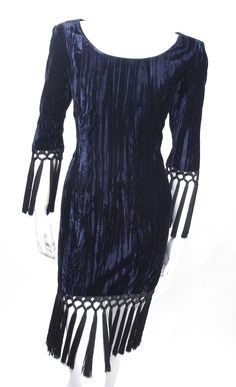 157a041a87a Vintage Yves Saint Laurent Cocktaildress in Navy and Black Fringes. Sold on  20thcenturycouture.com