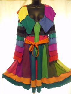 Earth Friendly Rainbow Elf Coat with huge collar
